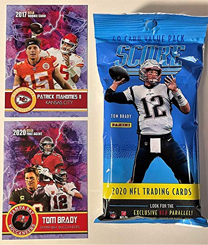 2020 Score NFL Football Factory Sealed JUMBO FAT PACK with 40 Cards Including (6) RC & (7) PARALLEL/INSERTS! Plus NEW Patrick Mahomes and a Tom Brady Custom Football Cards!