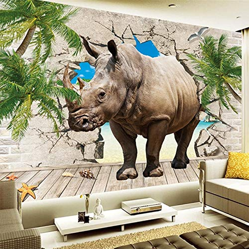 Fototapete, 3D Wand Tapete,Wandbilder Wandkunst Für Wohnzimmer Schlafzimmer, Diy Wanddeko Tv Nachttisch Hintergrund Wandbild,Fototapeten,Nashorn,250(B) X175(H) Cm