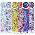 Body Glitter, Face Glitter NICEAUTY Chunky Nail Glitter 6 Colors Cosmetic Glitters Makeup Glittter with 1pcs Long Lasting Safe Non Toxic Fix Gel for Festival Face,Makeup,Body,Hair & Nail