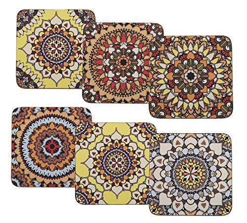 Mandala - Posavasos con base de corcho (6 unidades), diseño de mandala