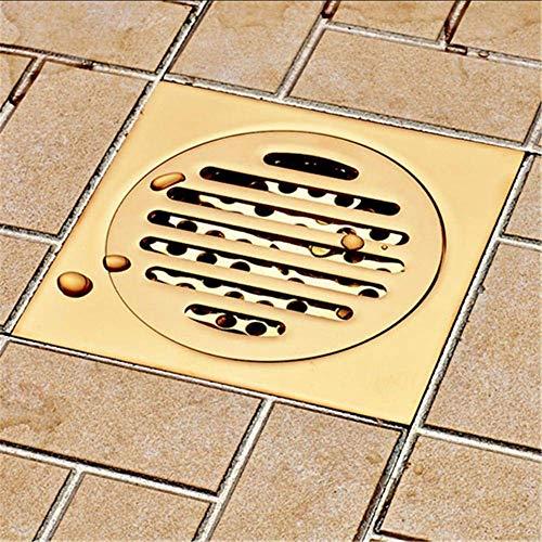 DYR Badbodenablauf 10 * 10cm Gold Badezimmerdusche Quadratablaufsieb Badezimmerablaufboden