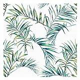 Vinilo Adhesivo para Muebles y Pared, 40 x 300 cm, Hojas Tropicales, Color Verde, Fondo Blanco, VNL-075