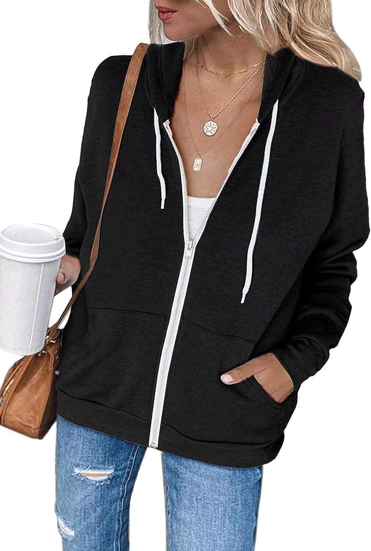 INFITTY Women Long Sleeve Zip Up Hoodie Jacket Solid Color Lightweight Hooded Sweatshirt Loose Fitting Tops Black Medium