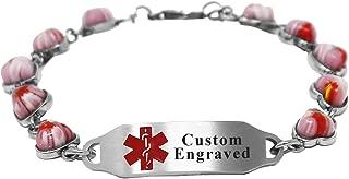My Identity Doctor - Custom Engraving Medical Alert Bracelet - 5mm Steel & Glass Hearts