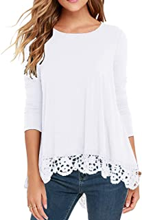 QIXING Women's Tops Short Sleeve//Long Sleeve Lace Trim O-Neck A Line Tunic Blouse