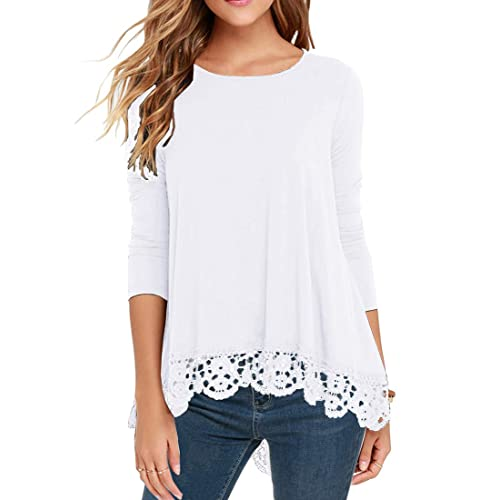 27f4497b945486 QIXING Women s Tops Short Sleeve and Long Sleeve Lace Trim O-Neck A-Line