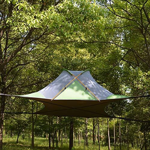 KGLOPYE Zelt 220 * 200cm hängende Baumzelt Ultraleicht hängende Baumhaus Camping Hängematte wasserdicht 4 Jahreszeiten Zelt Wanderrucksack, Viereck grün