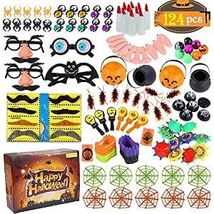 Twister.CK 124pcs Favores de Fiesta de Halloween Juego de Surtido de Juguetes para niños, Premios de Carnaval, Llenadores de Bolsas, Premios
