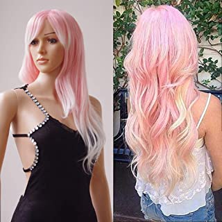 S-noilite Women Wigs 28 Inch Long Wavy Synthetic Ombre Full Wig with Wig Cap for Daily Party Cosplay Date - Pink-White