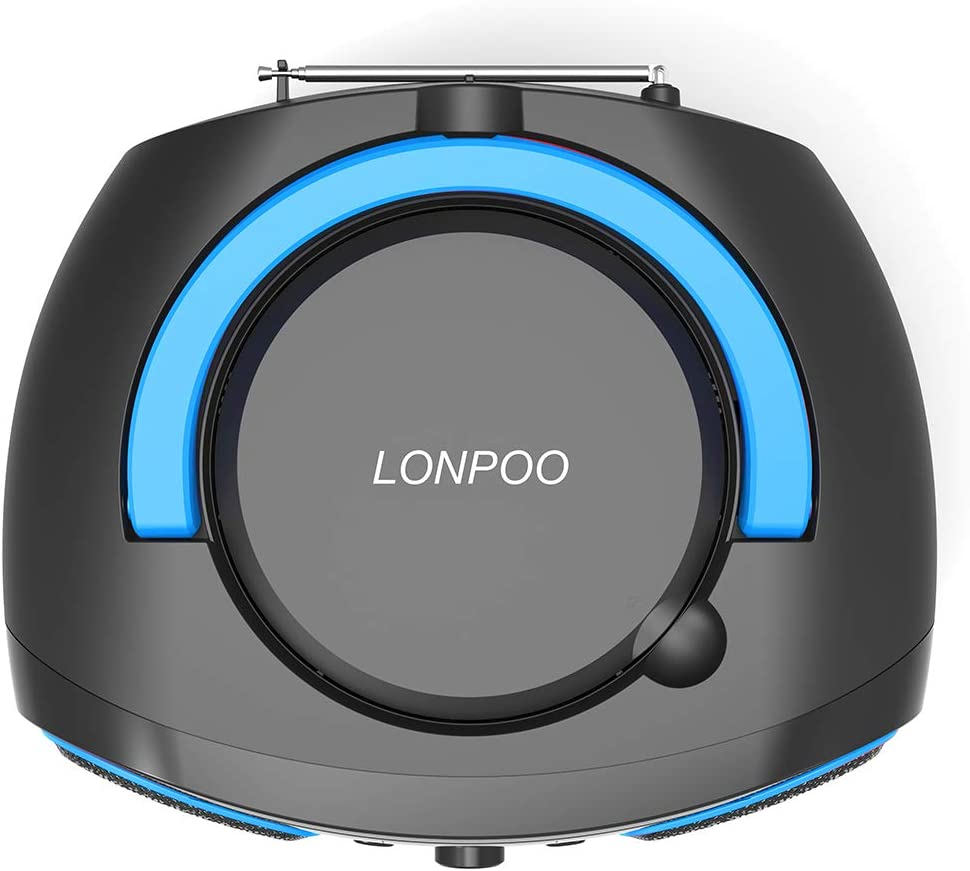 LONPOO Portable CD Player Boombox FM Radio Bluetooth MP3 CD Player with Aux-in /& USB /& Headphone Jack AC Power and DC Battery Batteries are Not Included