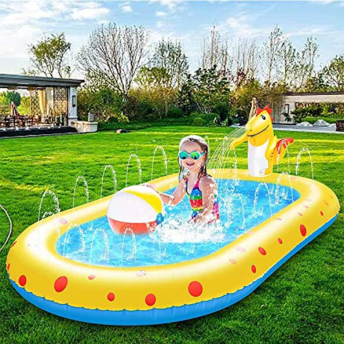 HuPop Inflatable Paddling Pool with Sprinkler - Sprinkling and Splashing Swimming Pool Summer Water Play Outdoor Garden Spray Toy for Kids 170*103*65cm (dinosaur)
