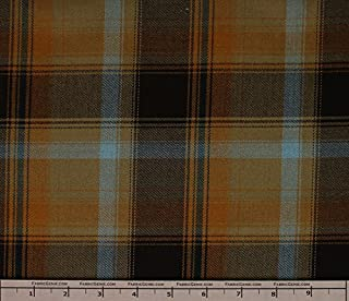 Taylor Poly Rayon Plaid Stretch Suiting Fabric, Stretch Suiting Fabric, Suiting Fabric-BROWN/OLIVE