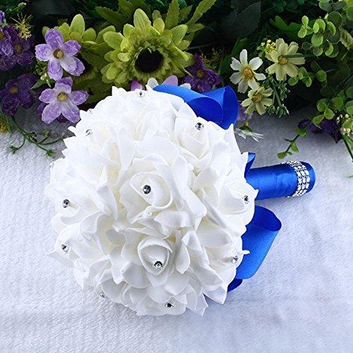 Brautjungfern Hochzeits Kunstblumen Kristallrosen Perlen Blumenstrauß künstliche Brautblumen (Blau)