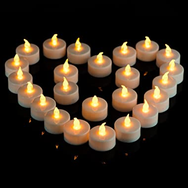 Tea Lights, Flameless LED Tea Lights Candles,Realistic Bright Flameless LED Tea Light Candles,Flickering Warm Yellow , Batter