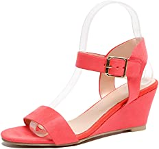 Women's Wedge Sandals Solid Peep Toe Ankle High Heel Buckle Strap Roman Shoes