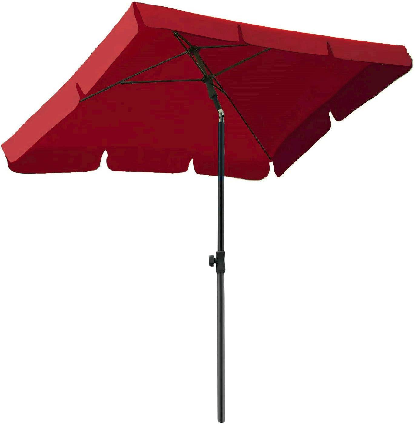 AMMSUN 7ft ふるさと割 流行のアイテム × 4.6ft Rectangular Outdoor Market Umbrella Patio Tab