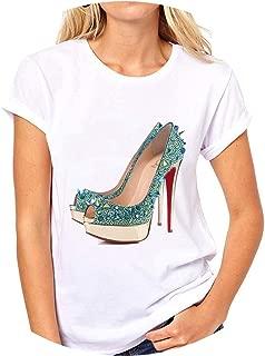 Vintage High Heels Print T-Shirt Women Harajuku Summer Frail Tops Funny Female Classic O-Neck Tee