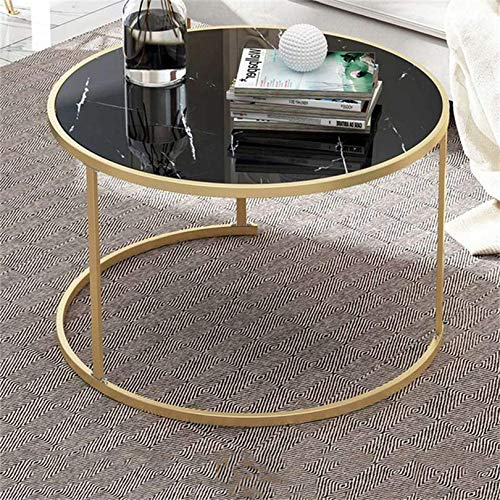 XJZKA Nesting Tables Round Coffee Table Side Tables, Marble Look with Matte Gold Metal Frame for Living Room Coffee Shop,Black