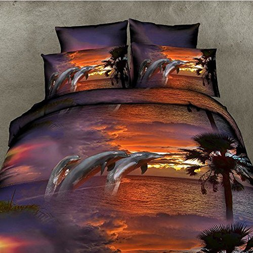 Dust Dancing Dolphin Pattern 3D Four Sets of Polyester Bedding Sets Single Double/Queen King Size 1PC Comforter Cover/2 PCS Pillow Covers (Size: Queen, Color: Multicolor) (Size : King(3Pcs/Set))