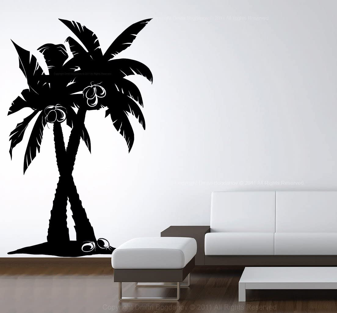 Lightsforever Vinyl Wall Art Decal Large Coconut Palm Trees Forest Removable Sticker Size 72 H X 44 W Home Kitchen