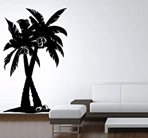 Lightsforever Vinyl Wall Art Decal Large Coconut Palm Trees Forest Removable Sticker Size 72