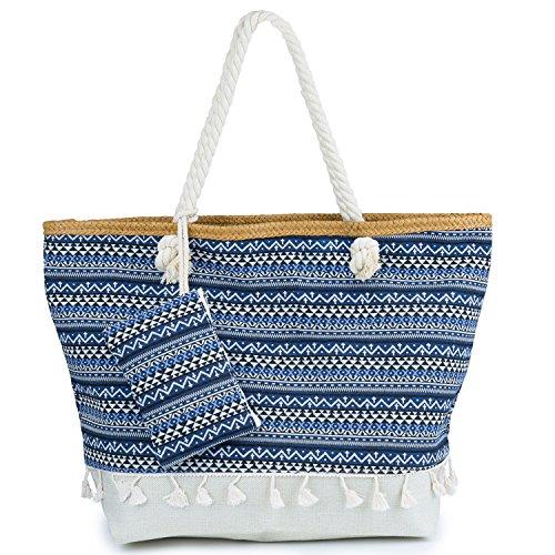ZWOOS Große Strandtasche mit Reissverschluss, Damen Shopping Shopper Tasche Reisetasche Canvas Schultertasche für Reise, Kaufen, Ausflug usw.