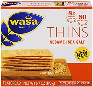 Wasa Flatbread Thins Crackers, Sesame and Sea Salt, 6.7 Ounce