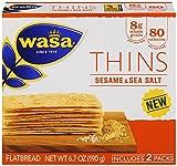 Wasa Flatbread Thins Crackers, Sesame and Sea Salt, 6.7 Ounce