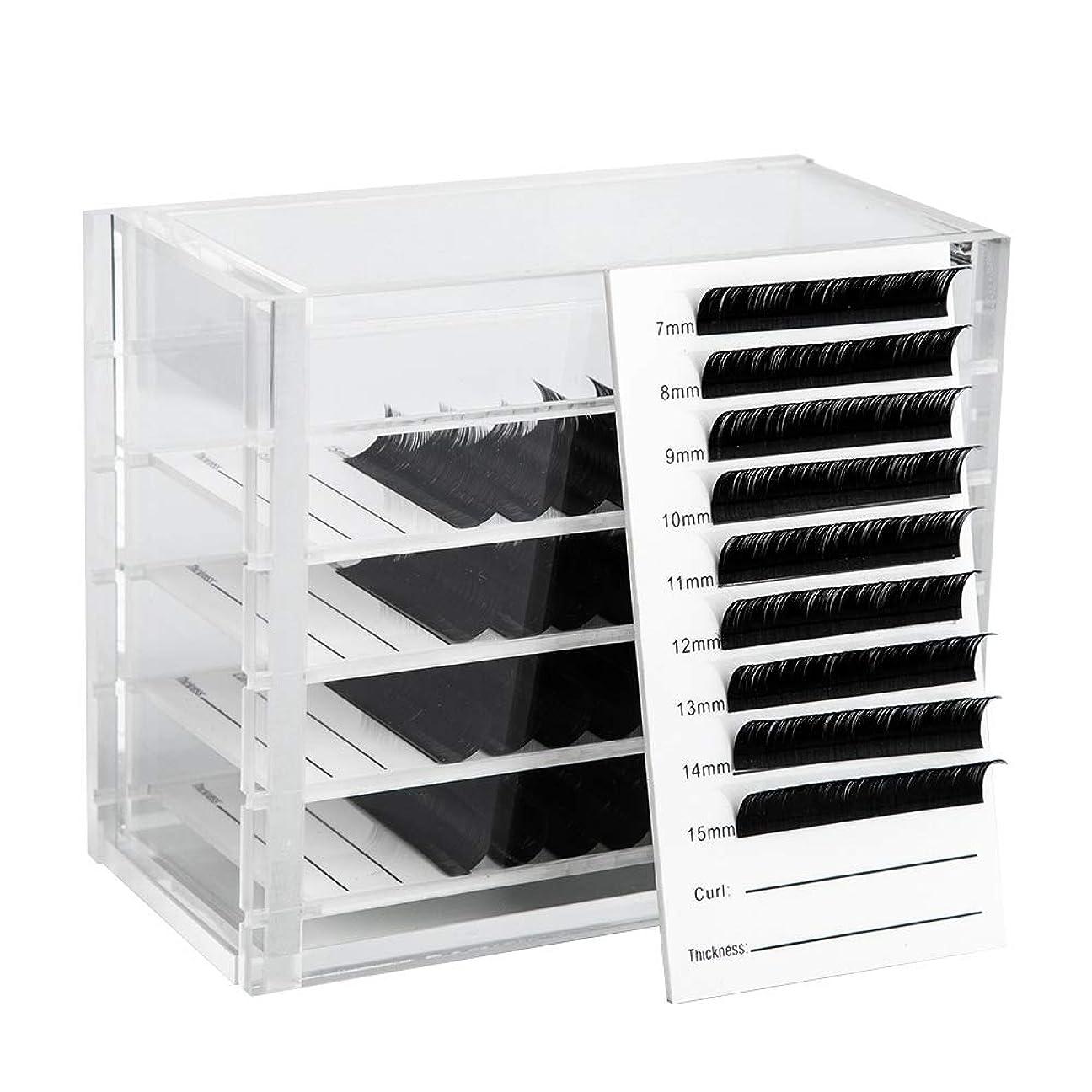 瞬時にあいまいさ適合するNrpfell クリア5層まつげ収納ボックス化粧オーガナイザーつけまつげ接着剤パレットホルダーグラフトまつげエクステメイクツール