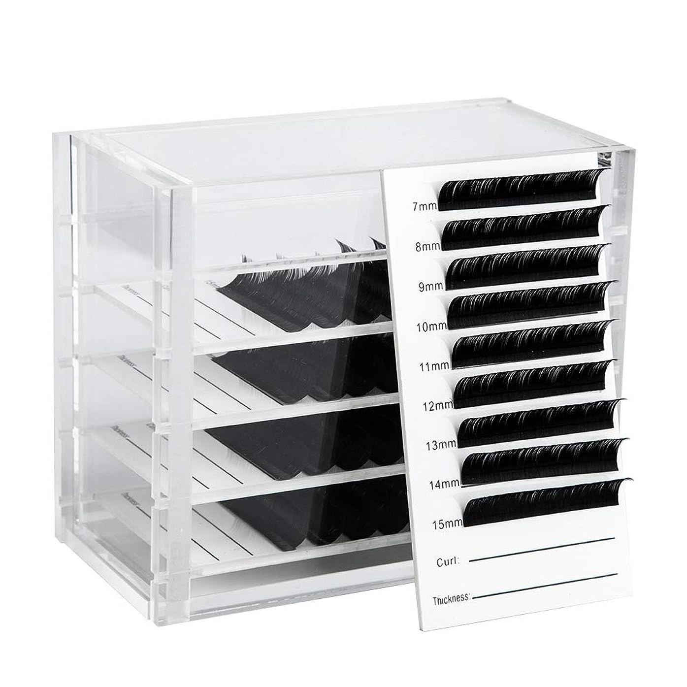 グレートバリアリーフ別々に奨励Nrpfell クリア5層まつげ収納ボックス化粧オーガナイザーつけまつげ接着剤パレットホルダーグラフトまつげエクステメイクツール