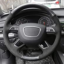 HCDSWSN Hand-Stitched Black Suede Black PU Carbon Fiber Car Steering Wheel Cover,for Audi Q7 2012-2015 Q3 Q5 2013-2016 A4 (B8) 2014 2015 A6 (C7)