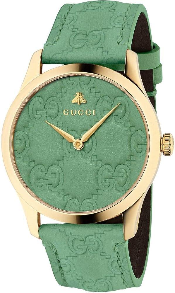 Gucci, orologio da uomo,  collezione g-timeless,  cinturino e quadrante in pelle impressa, cassa in pvd oro YA1264099