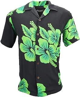 Favant Tropical Luau Beach Hibiscus Floral Print Men's Hawaiian Aloha Shirt