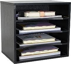 PAG Office Supplies Desk Organizer Wood File Mail Sorter with 3 Adjustable Drawer Boards,Black