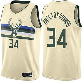 LYLSH Basket Maillots Milwaukee Bucks #34 Giannis Antetokounmpo Uniforme De Basket-Ball Mens Sportif Basketball Jersey T-Shirt Tops pour Les Amateurs De Basket S - XXXL