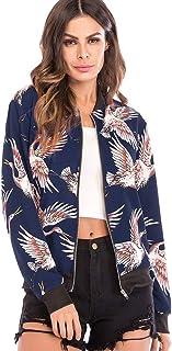 Hotiary Women's Full Zip Up Bomber Jacket Crane Printed Baseball Lightweight Biker Outwear Long Sleeve Coat for Women