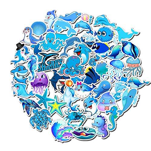 BLOUR 10/30/50 Uds Azul océano Dibujos Animados Animal Personalidad Graffiti Pegatina Maleta Graffiti Pegatina Cuerpo decoración al por Mayor