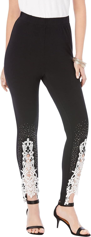 Roamans Women's Plus Size Lace-Applique Legging