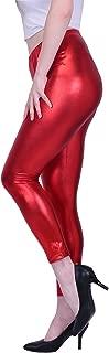 Womens Shiny Metallic Leggings Liquid Wet Look Bottoms - Regular Plus Sizes