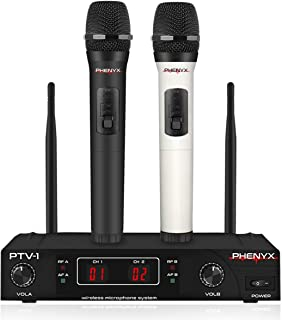 Wireless Microphone System, Phenyx Pro VHF Cordless Mic Set With 2 Handheld Mics, Color Coding, Easy Setup, Best for Home Use, Church, Youtube, Karaoke, Party Events (PTV-1A)