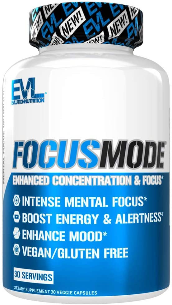 Evlution Nutrition Focus Mode, Herbal Brain Function and Cognitive Support Supplement, Focus, Energy, Clarity, Memory, Mind Enhancer and Mood Booster Nootropic (30 Servings)