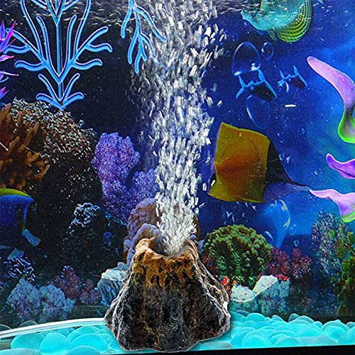 Abnaok Vulkan Aquarium Dekoration, Aquarium Sprudler Aquarium Zubehoer Deko mit Luftblase Stein for Fisch Tank Ornament Dekoration