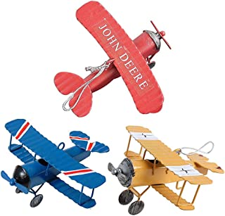 Doppeldecker Spielzeug Metalldekoratives Flugzeugmodell Schmiedeeisen Flugzeug