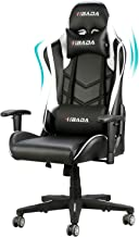 Hbada Gaming Chair Racing Style Ergonomic High Back Computer Chair with Height Adjustment, Headrest and Lumbar Support E-Sports Swivel Chair, White(1-Year Warranty)