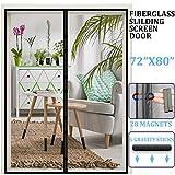 Magnetic Retractable Screen Door 72'x 80',Reinforced Fiberglass Sliding Screen Door/French Door Mesh Curtain,and Full Frame Hook & Loop Fits Door Size up to 70'x79' Max- Black-by Dysome