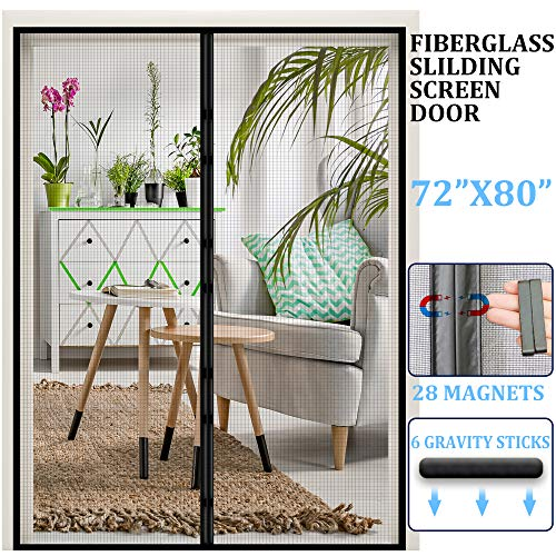 """Magnetic Retractable Screen Door 72""""x 80"""",Reinforced Fiberglass French Door Mesh Curtain,and Full Frame Hook & Loop Fits Door Size up to 70""""x79"""" Max- Black-by Dysome"""