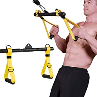 Clothink Cable Machine Attachments Rowing Machine Handle Detachable, All in One Rotating Straight Bar Tricep Rope Exercise Handles