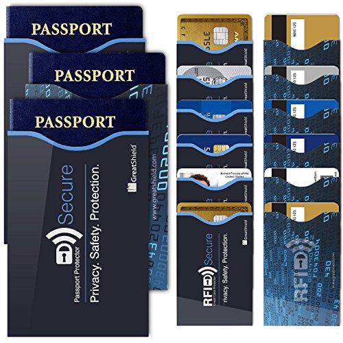 GreatShield RFID Blocking Schutzhülle(12+3er Set)[12 Kredit-kartenhülle|3 Reisepass-hülle] Kreditkarte/Ausweisen/Karte/Pass - Damen & Herren