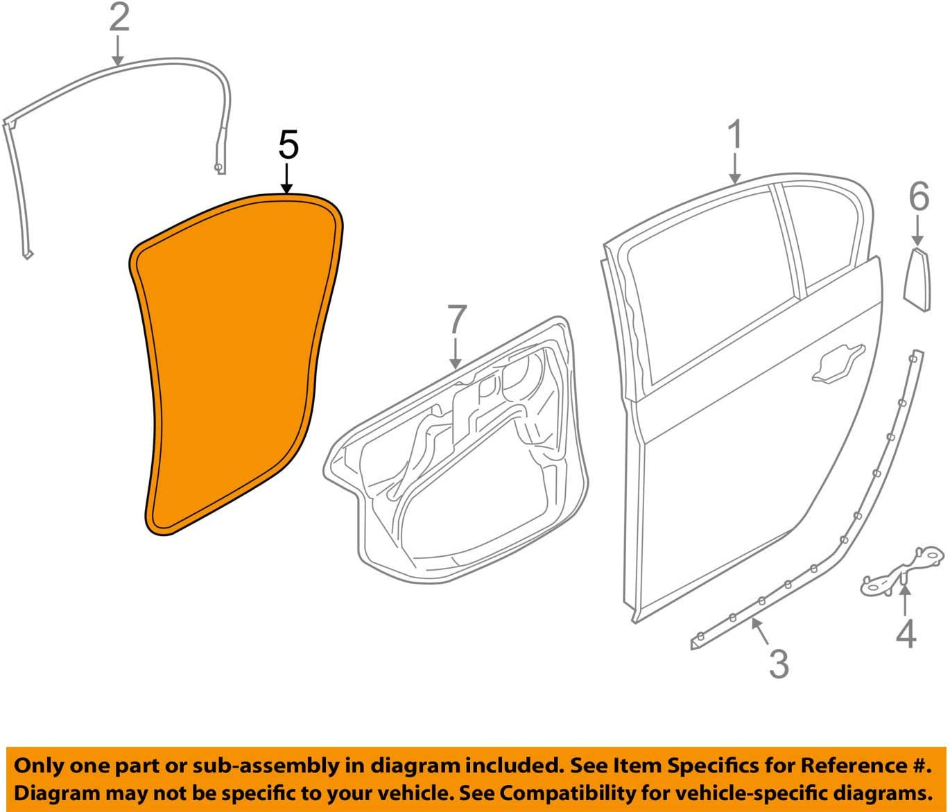 Details about  /Weather Strip Door Glass Right Rear BMW Series 5 530i 528i 525i 540i 97-03 OEM