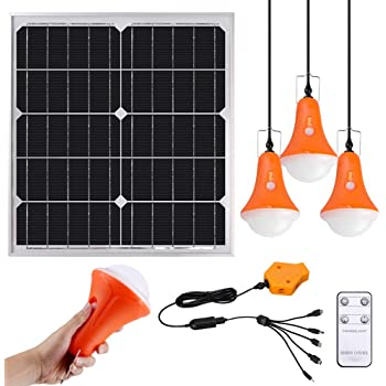 GVSHINE Portable Solar Panel, 20W Solar Lighting Kit for Home RV Hiking Hurricane Shed Emergency - 4 Pack 500 Lumen Rechargeable LED Bulbs with Remote Control Digital Power Display - Phone Charger